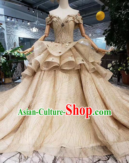 Handmade Customize Wedding Princess Embroidered Flat Shouders Mullet Dress Court Bride Costume for Women
