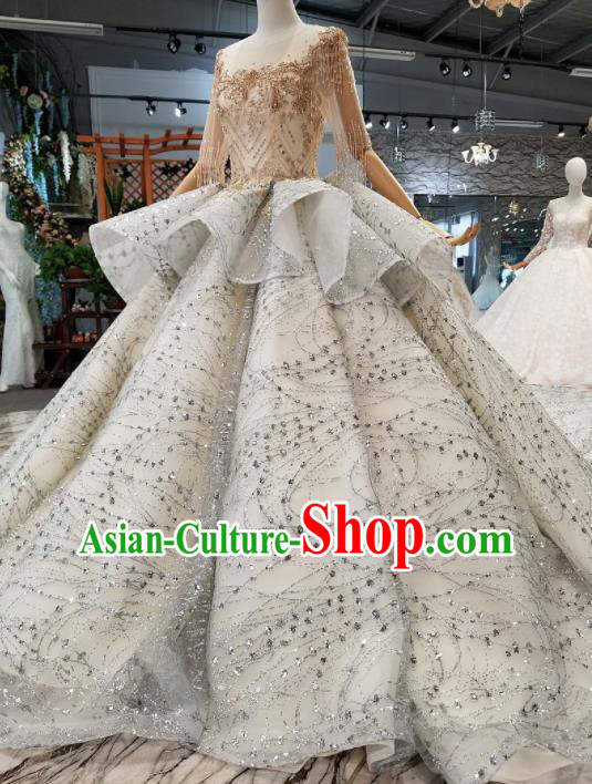 Customize Handmade Princess Embroidered Grey Veil Trailing Dress Wedding Court Bride Costume for Women
