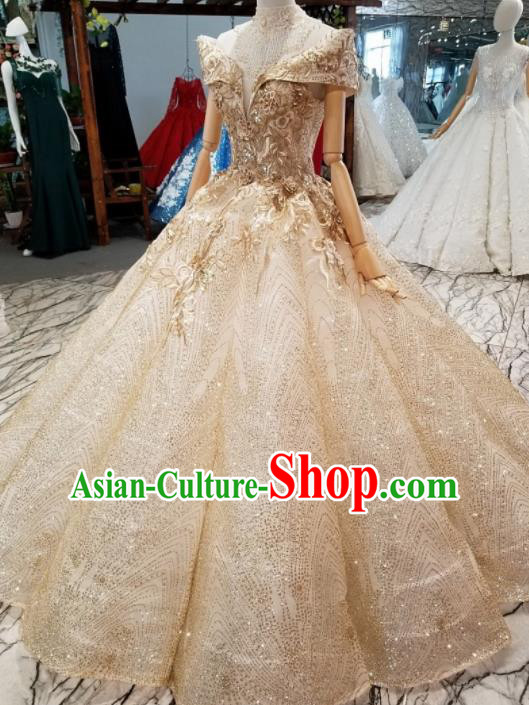 Top Grade Modern Fancywork Embroidered Champagne Full Dress Customize Waltz Dance Costume for Women