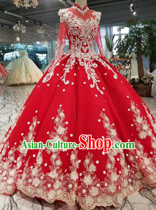 Top Grade Embroidered Red Trailing Full Dress Customize Modern Fancywork Princess Waltz Dance Costume for Women