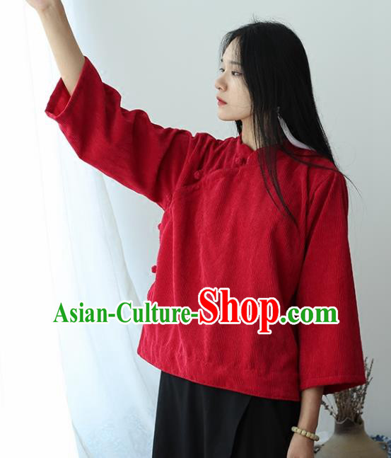 Chinese Traditional National Costume Red Corduroy Jacket Tang Suit Upper Outer Garment for Women