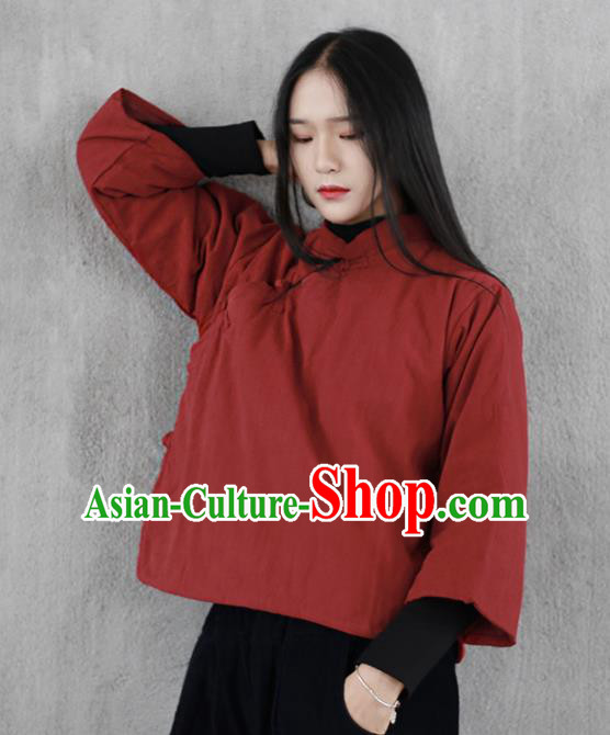 Chinese Traditional National Costume Red Cotton Wadded Jacket Tang Suit Upper Outer Garment for Women