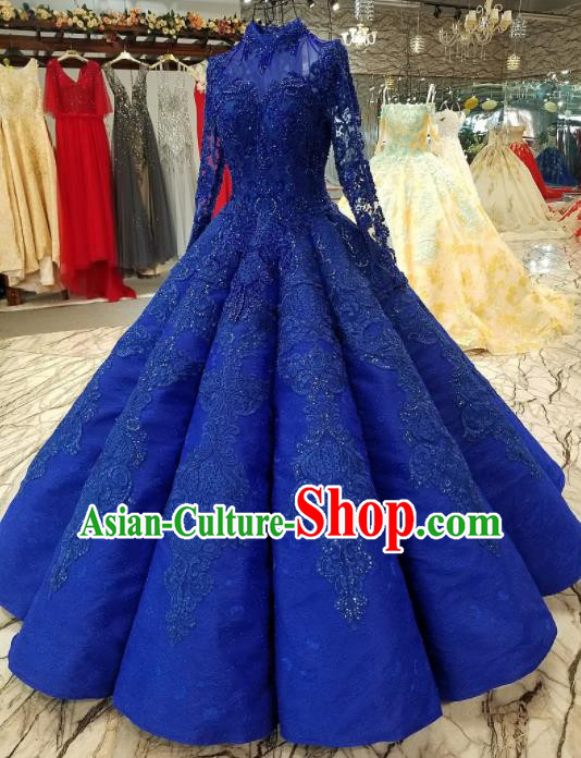 Top Grade Embroidered Royalblue Lace Full Dress Customize Modern Fancywork Princess Waltz Dance Costume for Women