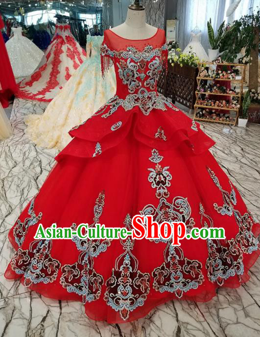 Top Grade Embroidered Red Full Dress Customize Modern Fancywork Princess Waltz Dance Costume for Women
