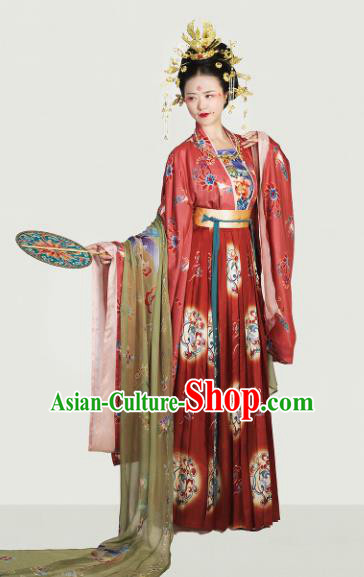 Traditional Chinese Tang Dynasty Imperial Empress Embroidered Hanfu Dress Ancient Drama Court Lady Historical Costume for Women