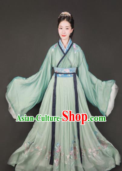 Traditional Chinese Jin Dynasty Imperial Princess Embroidered Hanfu Dress Ancient Drama Palace Lady Historical Costume for Women