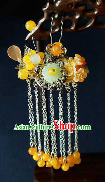 China Ancient Princess Yellow Flowers Tassel Hairpins Chinese Traditional Hanfu Hair Clip Hair Accessories for Women