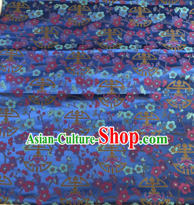 Asian Chinese Traditional Plum Blossom Pattern Design Blue Brocade Fabric Silk Fabric Chinese Fabric Asian Material