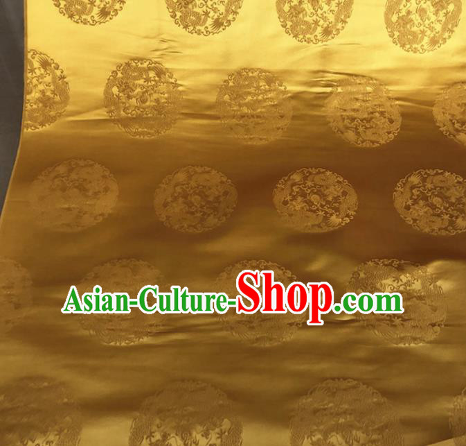 Asian Chinese Traditional Round Dragons Pattern Design Golden Brocade Fabric Silk Fabric Chinese Fabric Asian Material