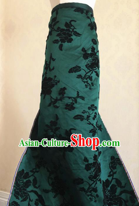 Asian Chinese Traditional Peony Pattern Design Green Brocade Fabric Silk Fabric Chinese Fabric Asian Material