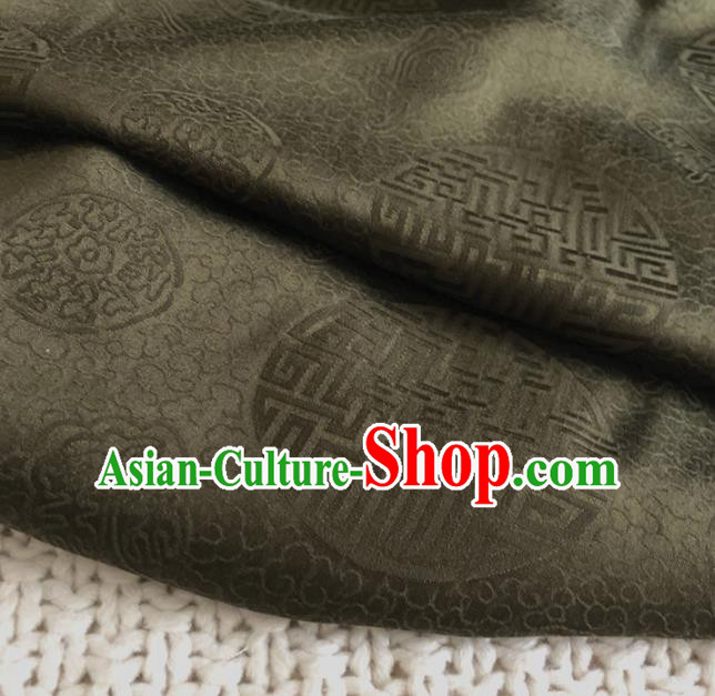 Asian Chinese Traditional Lucky Pattern Design Deep Brown Brocade Fabric Silk Fabric Chinese Fabric Asian Material