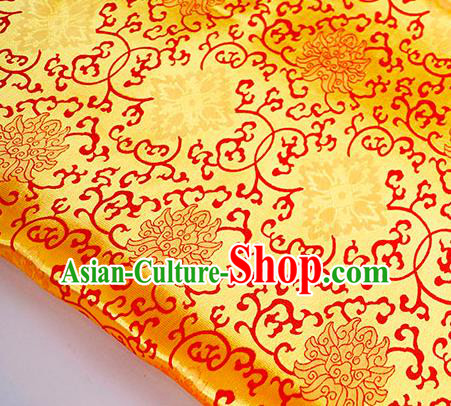 Asian Chinese Traditional Rich Lotus Pattern Design Golden Brocade Fabric Silk Fabric Chinese Fabric Asian Material