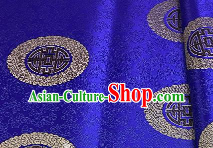 Asian Chinese Traditional Longevity Pattern Design Royalblue Brocade Fabric Silk Fabric Chinese Fabric Asian Material