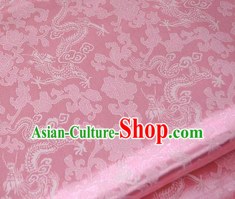 Asian Chinese Traditional Twine Dragon Pattern Design Pink Brocade Fabric Silk Fabric Chinese Fabric Asian Material