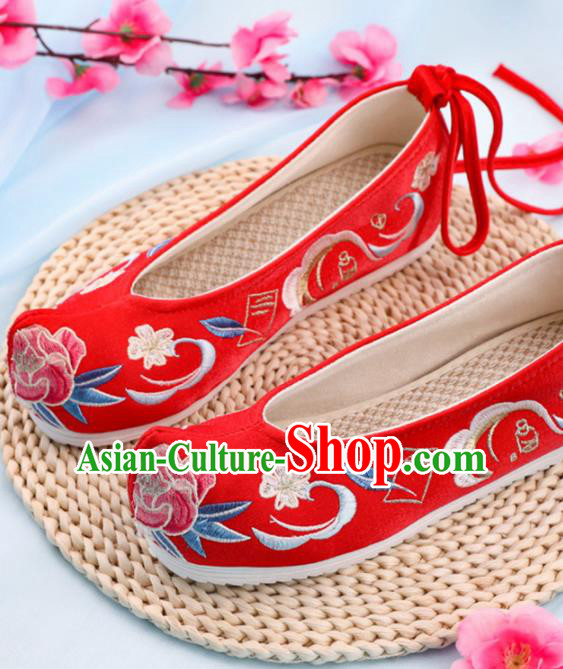 Chinese Traditional Hanfu Shoes Ancient Princess Wedding Red Embroidered Shoes National Cloth Shoes for Women