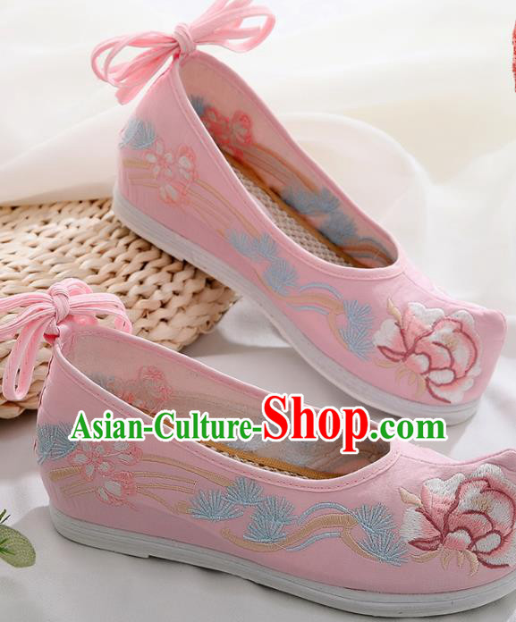 Chinese Traditional Hanfu Shoes Ancient Princess Embroidered Peony Pink Shoes National Cloth Shoes for Women