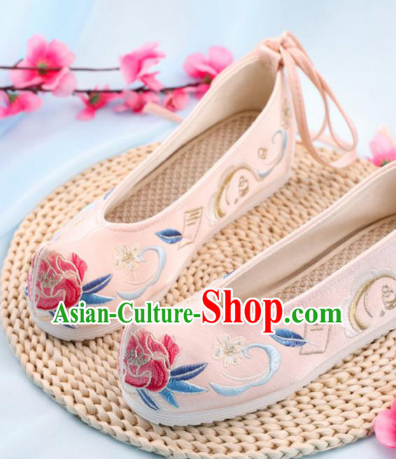 Chinese Traditional Hanfu Shoes Ancient Princess Wedding Pink Embroidered Shoes National Cloth Shoes for Women