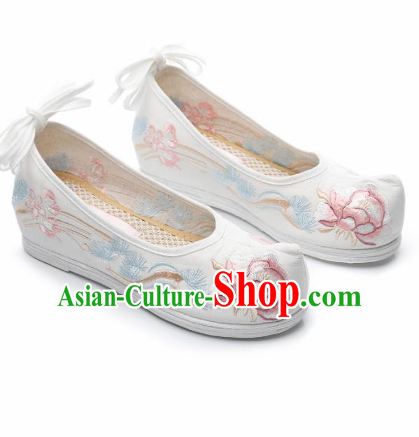 Chinese Traditional Hanfu Shoes Ancient Princess Embroidered Peony White Shoes National Cloth Shoes for Women
