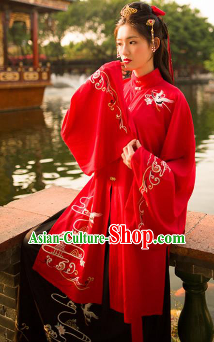 Traditional Chinese Ming Dynasty Princess Wedding Hanfu Dress Ancient Bride Red Historical Costume for Women