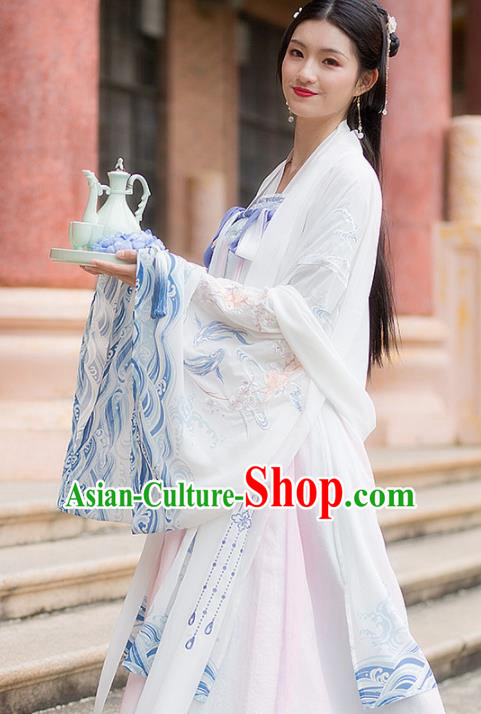 Traditional Chinese Tang Dynasty Court Maid Hanfu Dress Ancient Peri Princess Historical Costume for Women