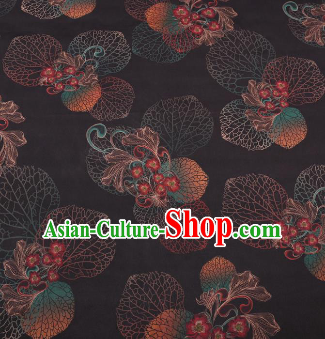 Chinese Traditional Leaf Flowers Pattern Design Black Satin Watered Gauze Brocade Fabric Asian Silk Fabric Material