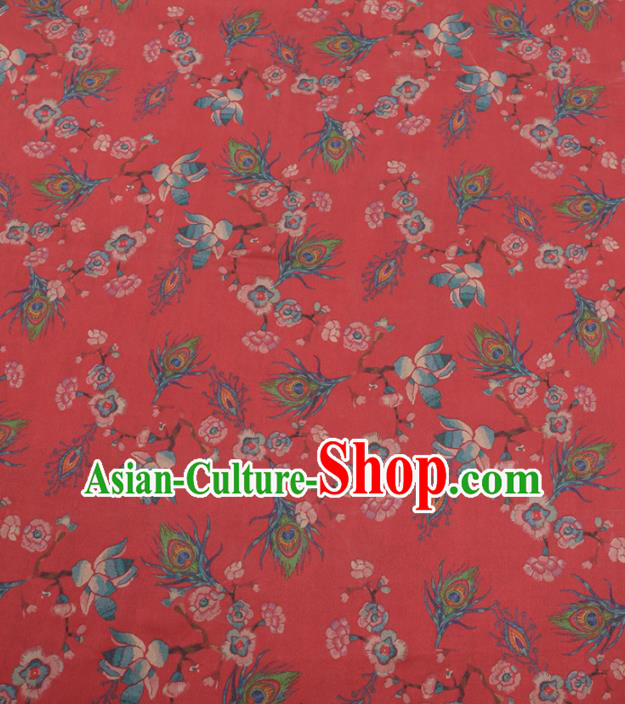 Chinese Traditional Phoenix Feather Pattern Design Red Satin Watered Gauze Brocade Fabric Asian Silk Fabric Material