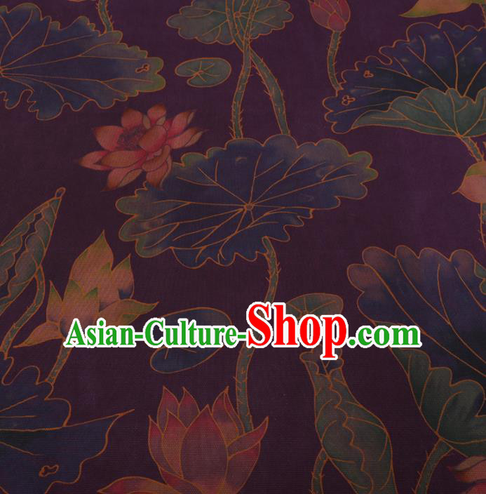 Chinese Traditional Lotus Pattern Design Purple Satin Watered Gauze Brocade Fabric Asian Silk Fabric Material