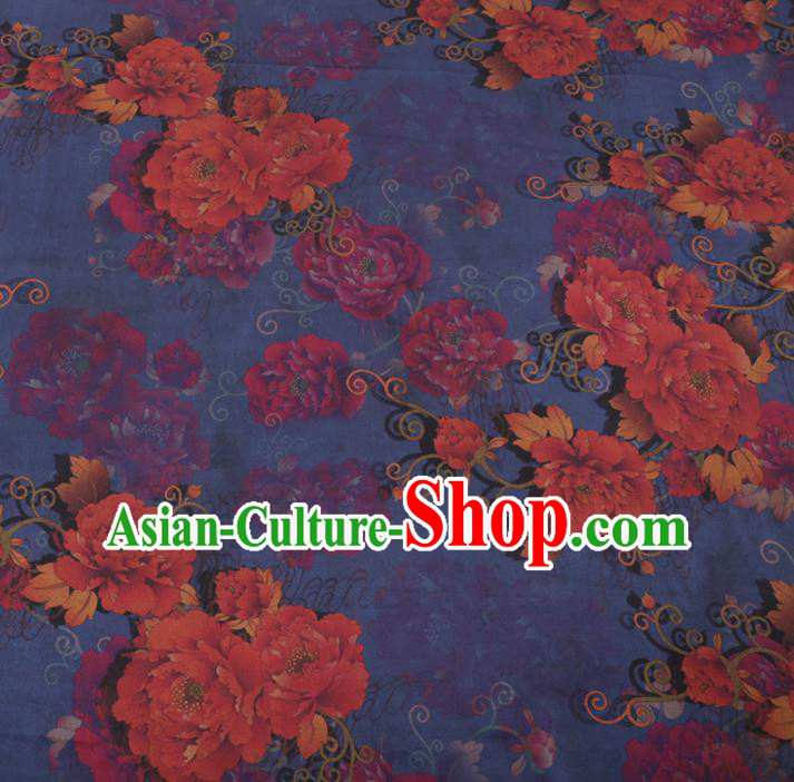 Chinese Traditional Peony Flowers Pattern Design Blue Satin Watered Gauze Brocade Fabric Asian Silk Fabric Material