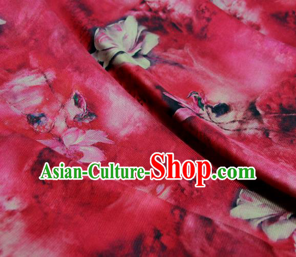 Chinese Traditional Lotus Pattern Design Red Satin Watered Gauze Brocade Fabric Asian Silk Fabric Material