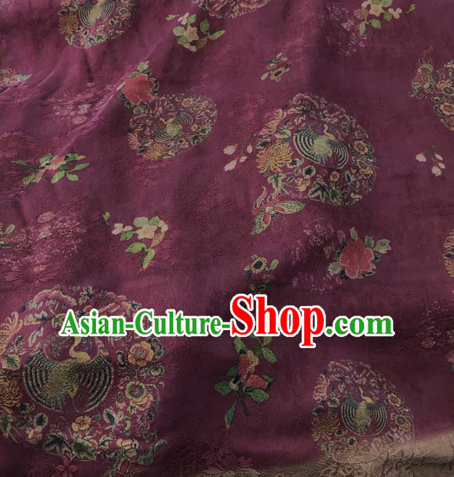 Chinese Traditional Phoenix Peony Pattern Design Purple Satin Watered Gauze Brocade Fabric Asian Silk Fabric Material