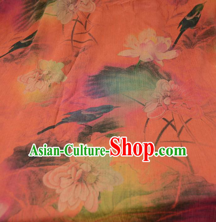 Chinese Traditional Lotus Pattern Design Orange Satin Watered Gauze Brocade Fabric Asian Silk Fabric Material