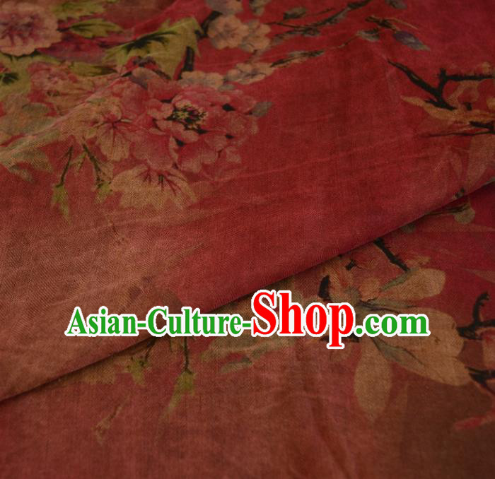 Chinese Traditional Peony Pattern Design Peach Pink Satin Watered Gauze Brocade Fabric Asian Silk Fabric Material