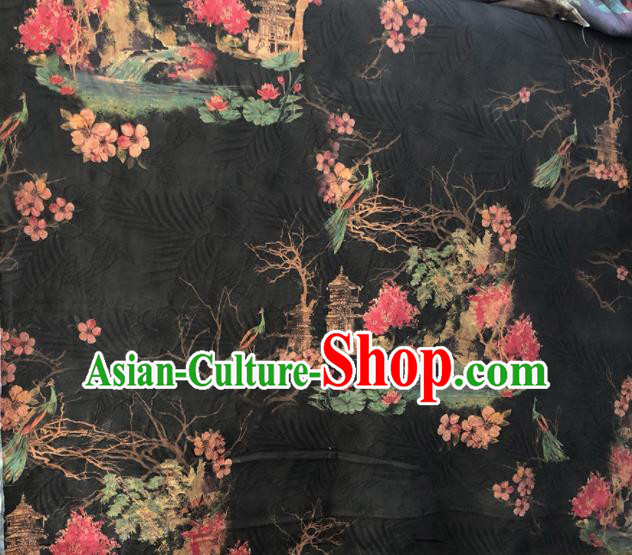 Chinese Traditional Peach Blossom Pattern Design Black Satin Watered Gauze Brocade Fabric Asian Silk Fabric Material