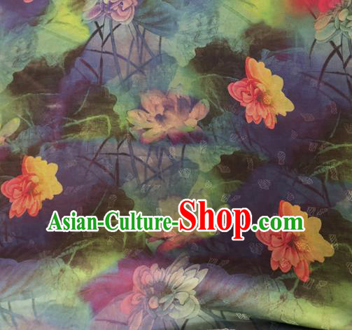Chinese Traditional Lotus Pattern Design Colorful Satin Watered Gauze Brocade Fabric Asian Silk Fabric Material