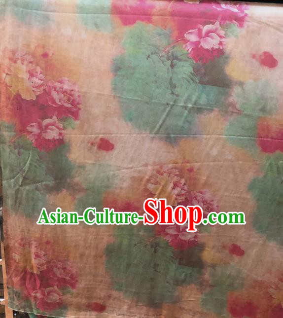 Chinese Traditional Peony Pattern Design Champagne Satin Watered Gauze Brocade Fabric Asian Silk Fabric Material