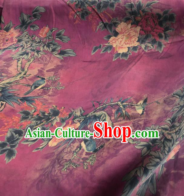 Chinese Traditional Peony Pattern Design Fuchsia Satin Watered Gauze Brocade Fabric Asian Silk Fabric Material