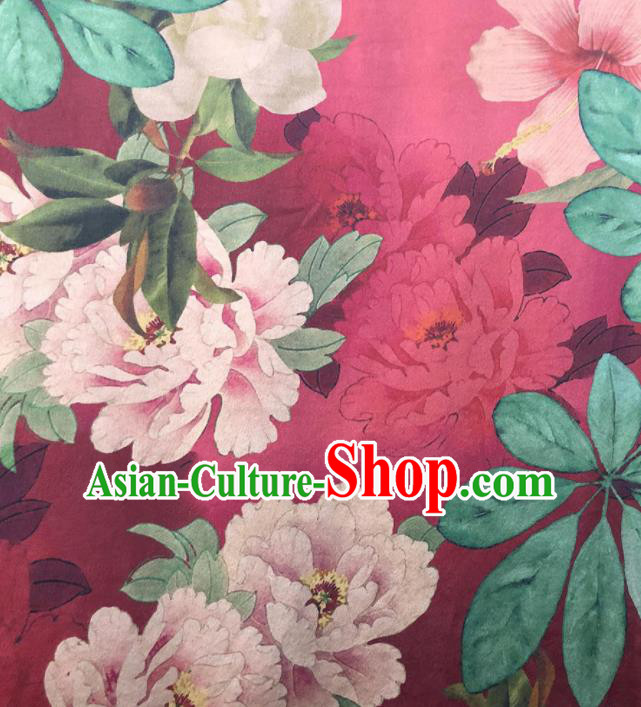 Chinese Traditional Peony Pattern Design Rosy Satin Watered Gauze Brocade Fabric Asian Silk Fabric Material
