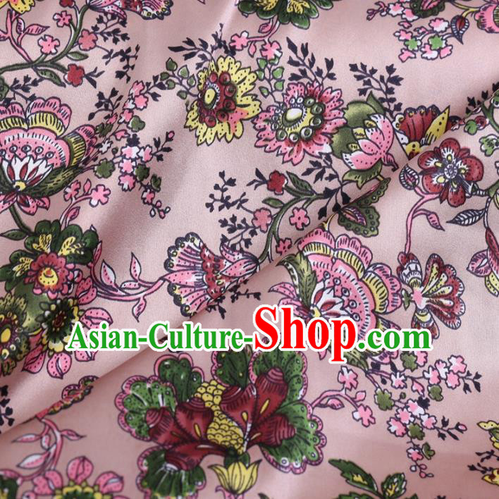 Chinese Traditional Cockscomb Pattern Design Pink Satin Watered Gauze Brocade Fabric Asian Silk Fabric Material