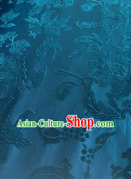 Chinese Traditional Peony Pattern Design Blue Brocade Fabric Asian Silk Fabric Chinese Fabric Material