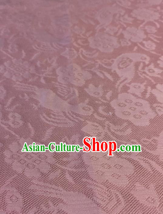 Chinese Traditional Flower Bird Pattern Design Pink Brocade Fabric Asian Silk Fabric Chinese Fabric Material