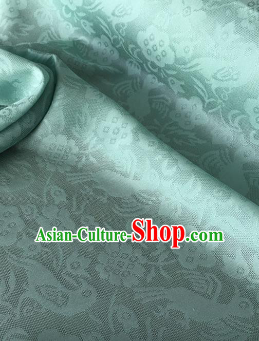 Chinese Traditional Flower Bird Pattern Design Light Green Brocade Fabric Asian Silk Fabric Chinese Fabric Material