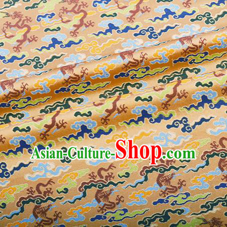 Chinese Traditional Hanfu Silk Fabric Classical Cloud Dragon Pattern Design Light Golden Brocade Tang Suit Fabric Material