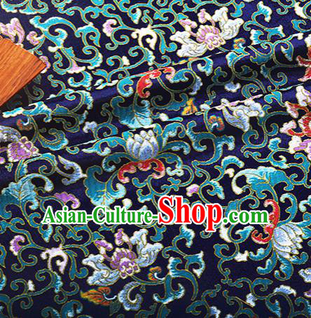 Chinese Traditional Hanfu Silk Fabric Classical Lotus Pattern Design Navy Brocade Tang Suit Fabric Material