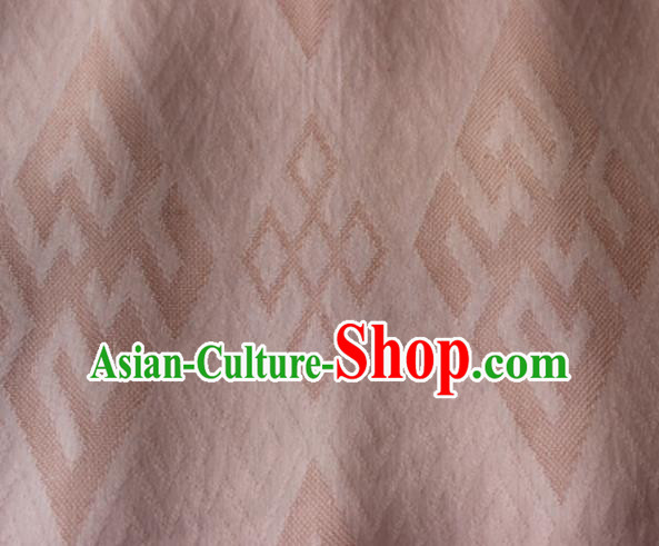Chinese Traditional Rhombus Pattern Design Pink Brocade Fabric Asian Silk Fabric Chinese Fabric Material