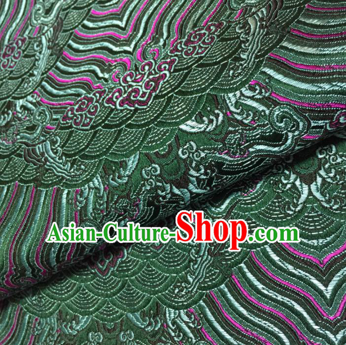 Chinese Traditional Sea Wave Pattern Design Green Brocade Fabric Asian Silk Fabric Chinese Fabric Material