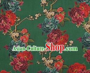 Chinese Traditional Peony Flowers Pattern Design Green Satin Watered Gauze Brocade Fabric Asian Silk Fabric Material
