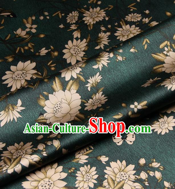 Chinese Traditional Lotus Flowers Pattern Design Green Satin Watered Gauze Brocade Fabric Asian Silk Fabric Material