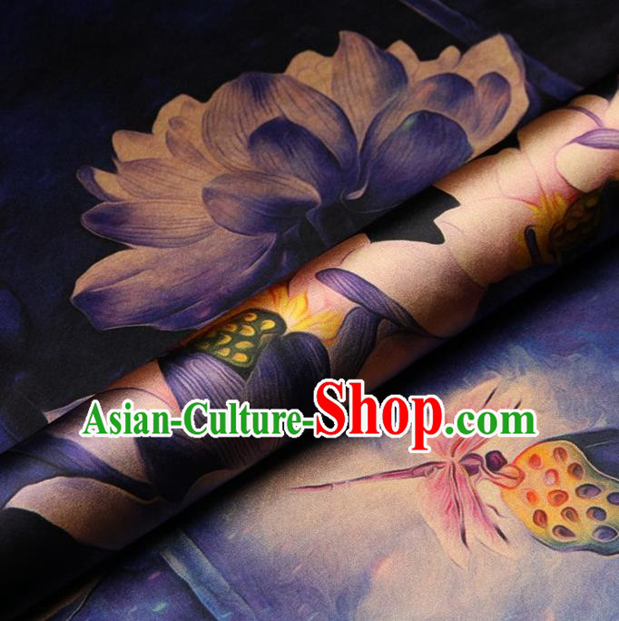 Chinese Traditional Lotus Flowers Pattern Design Purple Satin Watered Gauze Brocade Fabric Asian Silk Fabric Material
