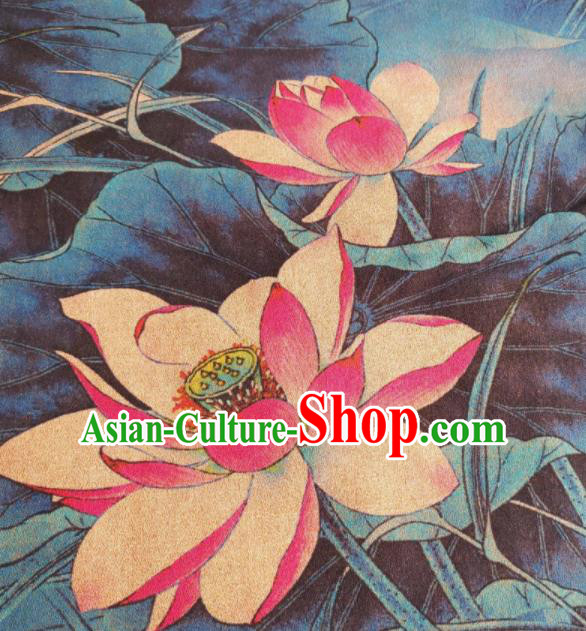 Chinese Traditional Pink Lotus Pattern Design Satin Watered Gauze Brocade Fabric Asian Silk Fabric Material