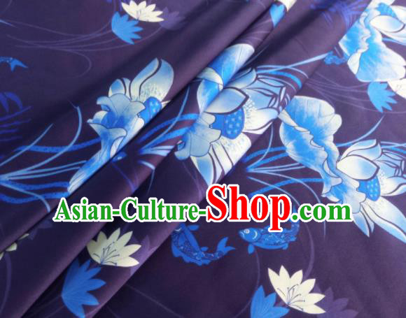 Chinese Traditional Lotus Pattern Design Dark Purple Satin Watered Gauze Brocade Fabric Asian Silk Fabric Material